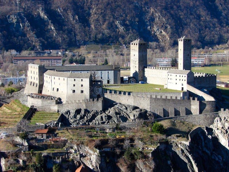 bellinz castelgrande城堡 免版税库存图片