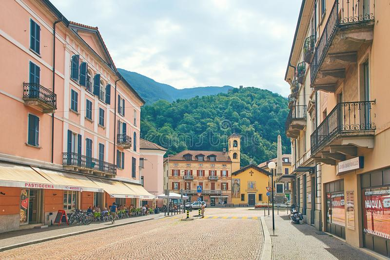 Beautiful view of Piazza Indipendenza or Independence Square in Bellinzona, Switzerland with an obelisk erected in 1803 royalty free stock images