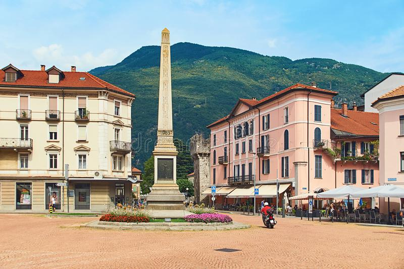 Beautiful view of Piazza Indipendenza or Independence Square in Bellinzona, Switzerland with an obelisk erected in 1803 stock image