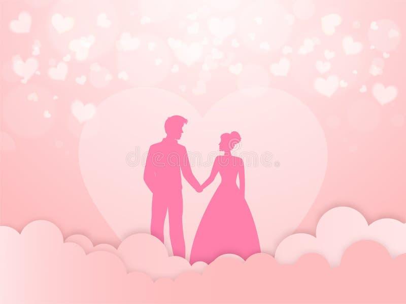 Bellissima carta d'auguri d'amore, Silhouette di Romantico personaggio di coppia su sfondo nuvoloso con taglio rosa e cuore royalty illustrazione gratis
