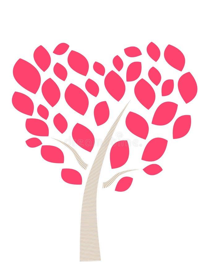 Bellissima immagine vettoriale di un albero del cuore e dell'albero dell'amore royalty illustrazione gratis
