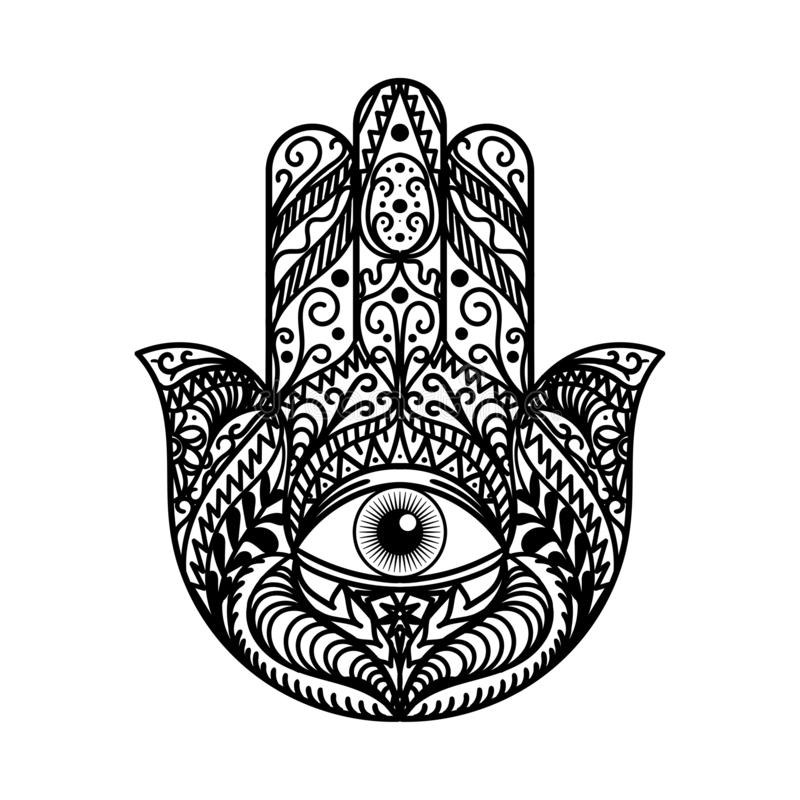 Bellissima tradizione di Hamsa Hand Amulet Monochrome illustrazione di stock