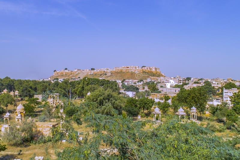 Bellissimo panorama del Forte d'oro di Jaisalmer, India immagine stock
