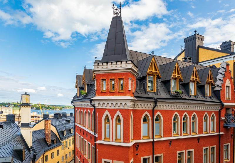 Bellmansgatan 1 bâtiment avec l'appartement du char de Mikael Blomkvist image stock