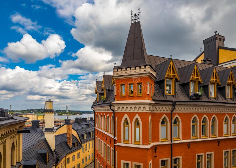 Bellmansgatan 1, construindo com o apartamento de Mikael Blomkvist, ch fotografia de stock
