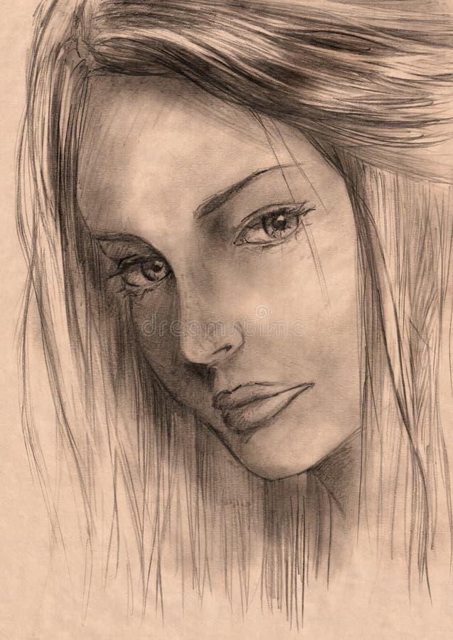 Bello abbozzo della donna illustrazione vettoriale