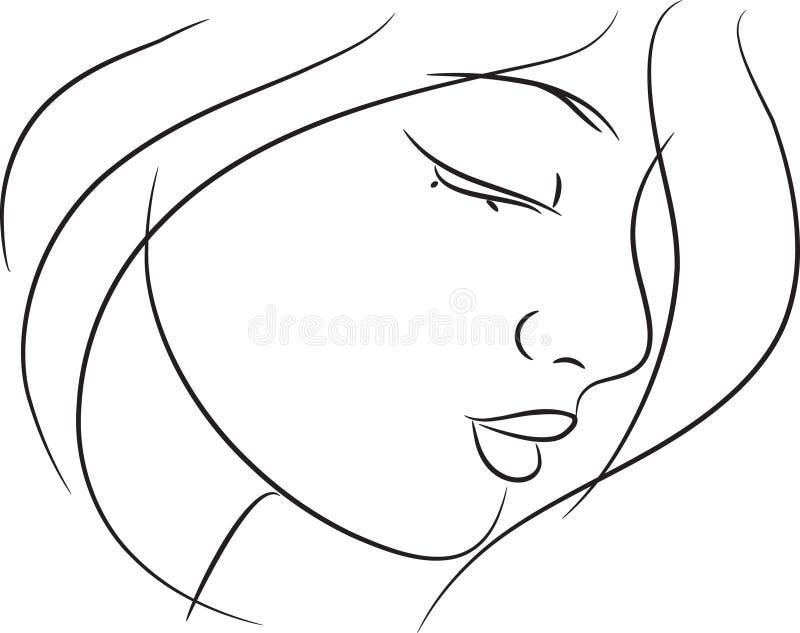 Bello abbozzo della ragazza illustrazione vettoriale