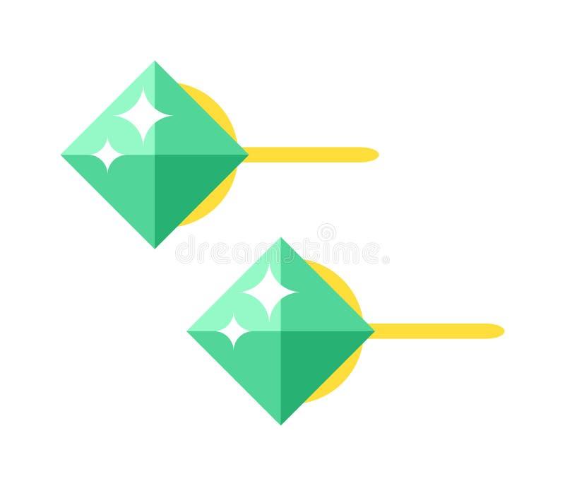Bello accessorio dell'oro degli orecchini verde smeraldo isolato illustrazione di stock