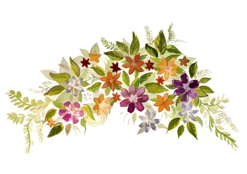 Bello acquerello che dipinge molti fiori illustrazione vettoriale