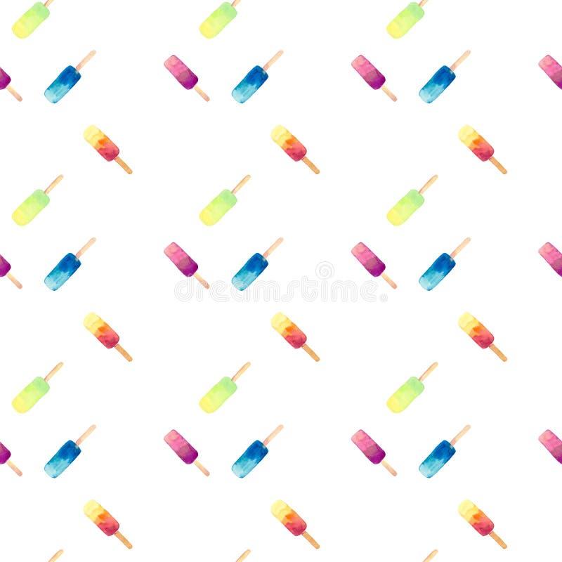 Bello acquerello diagonale del modello del succo congelato di estate dessert adorabile sveglio squisito saporito delizioso variop illustrazione di stock