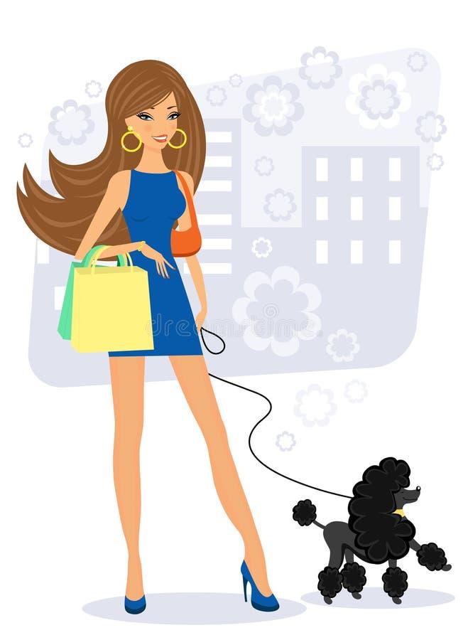 Bello acquisto della giovane donna con il suo barboncino illustrazione vettoriale
