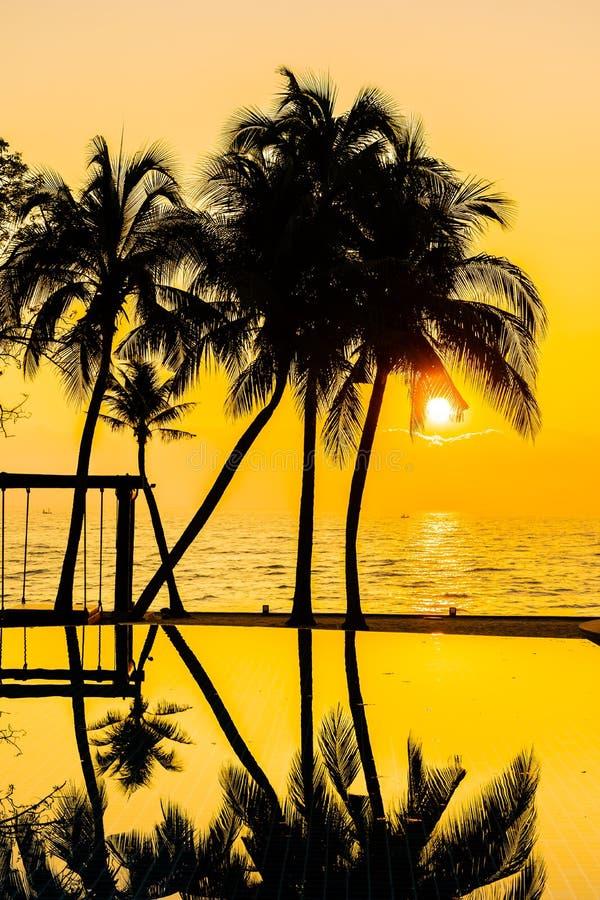 Bello albero del cocco della siluetta sul cielo intorno alla piscina in spiaggia neary dell'oceano del mare della localit? di sog fotografia stock libera da diritti
