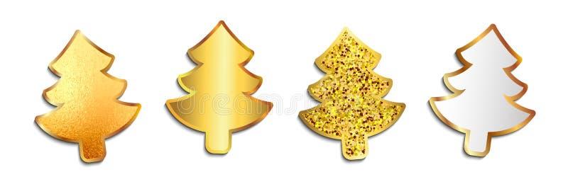 Bello albero di Natale dorato stabilito - vettore illustrazione di stock