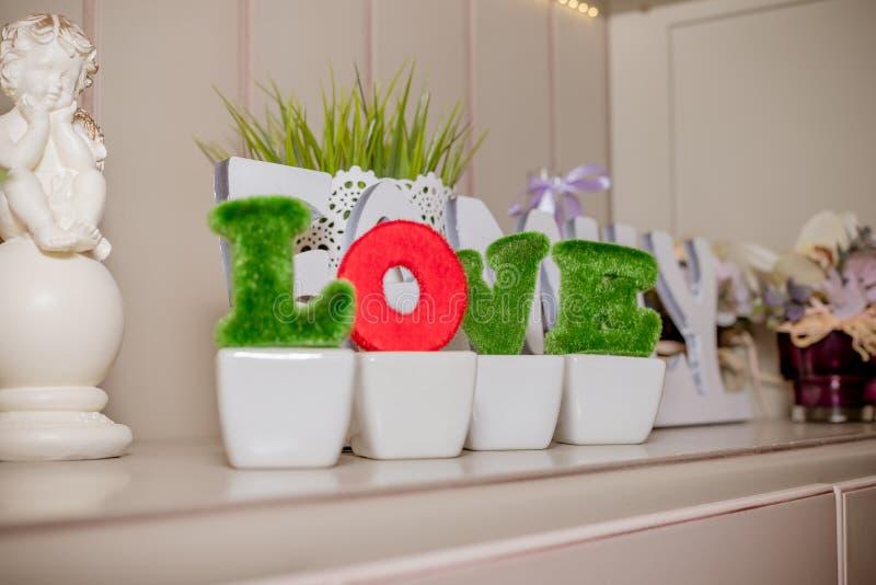 Bello amore verde della lettera di alfabeto isolato nell'interno Amore di parola dalle foglie decorative, piante, decorazione flo immagini stock libere da diritti