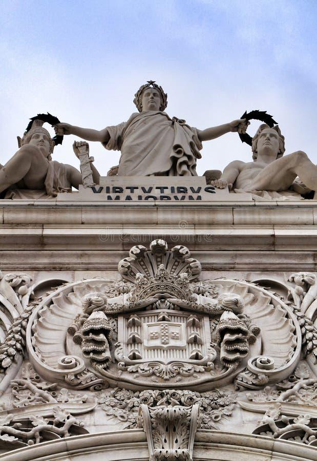 Bello Arco da Rua Augusta in Praca fa Comercio a Lisbona immagini stock libere da diritti