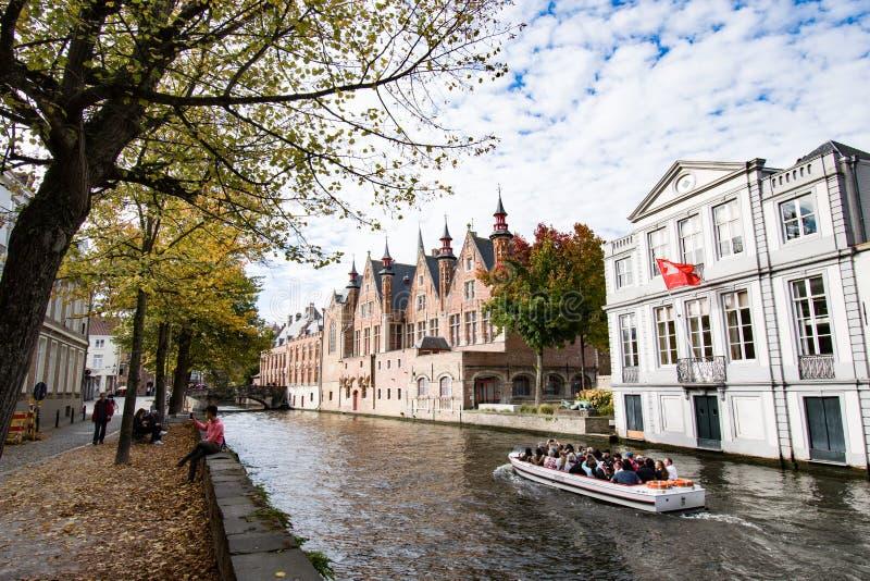 Bello autunno a Bruges Belgio fotografia stock