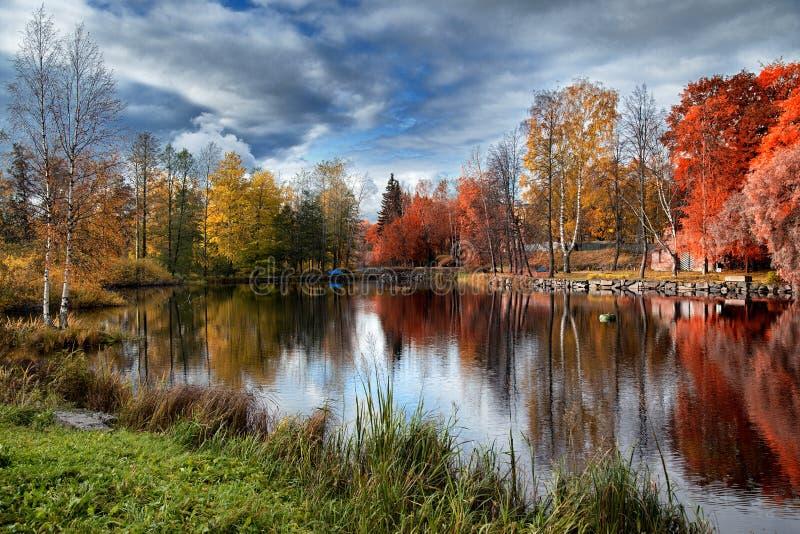 Bello autunno in Carelia fotografia stock