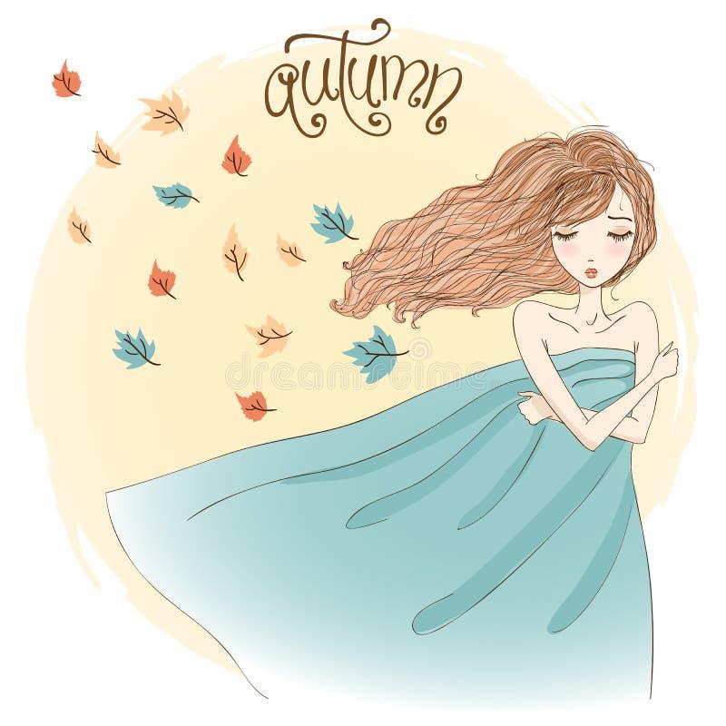 Bello autunno malinconico della ragazza royalty illustrazione gratis