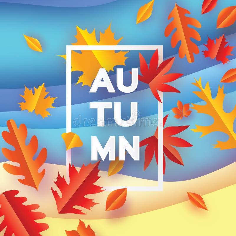 Bello autunno nello stile del taglio della carta Foglie di origami Ciao autunno settembre ottobre Pagina di rettangolo per testo  royalty illustrazione gratis