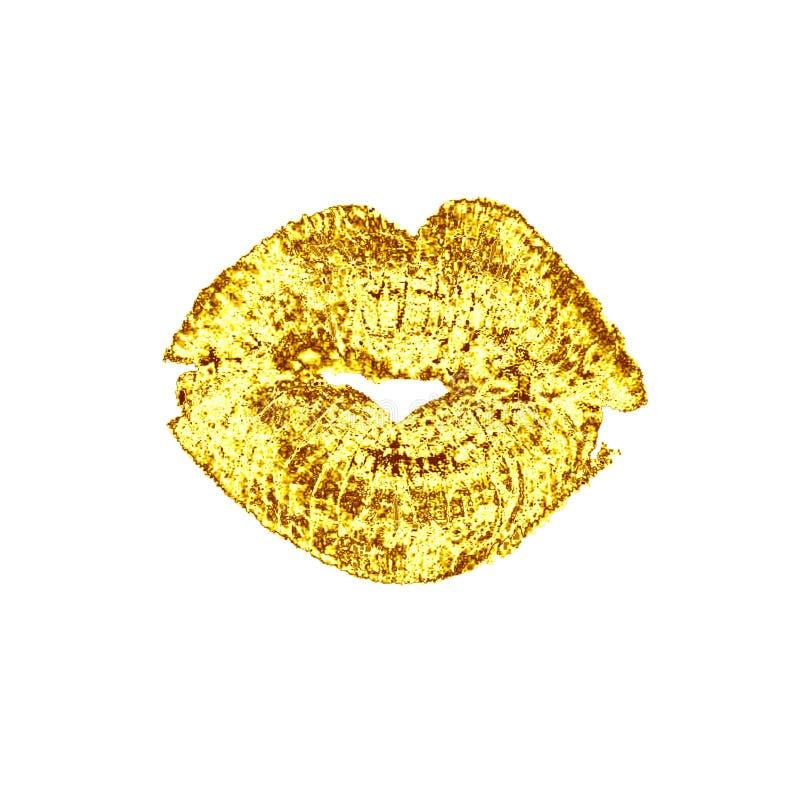 Bello bacio di lusso dorato delle labbra illustrazione di stock