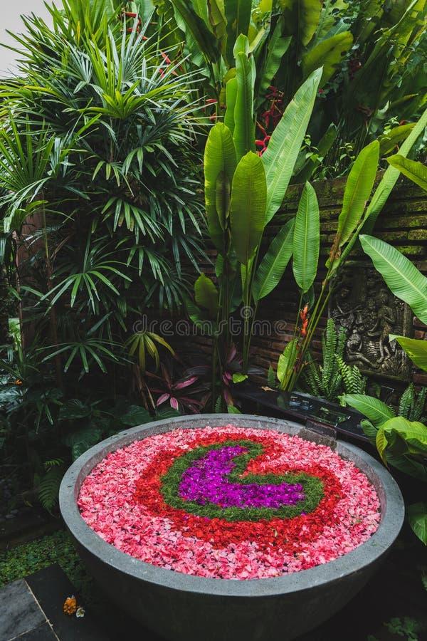 Bello bagno romantico con i petali a forma di del cuore fotografie stock