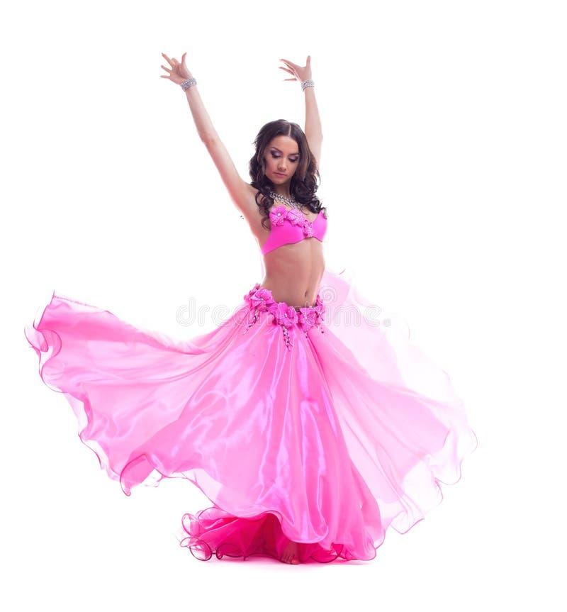 Bello ballerino in costume rosa - ballo orientale immagini stock