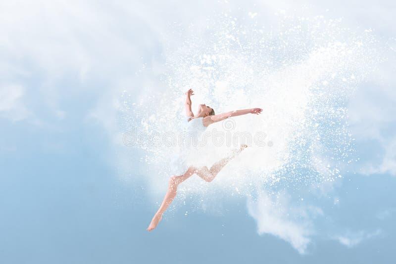 Bello ballerino di balletto che salta dentro la nuvola di polvere fotografia stock libera da diritti