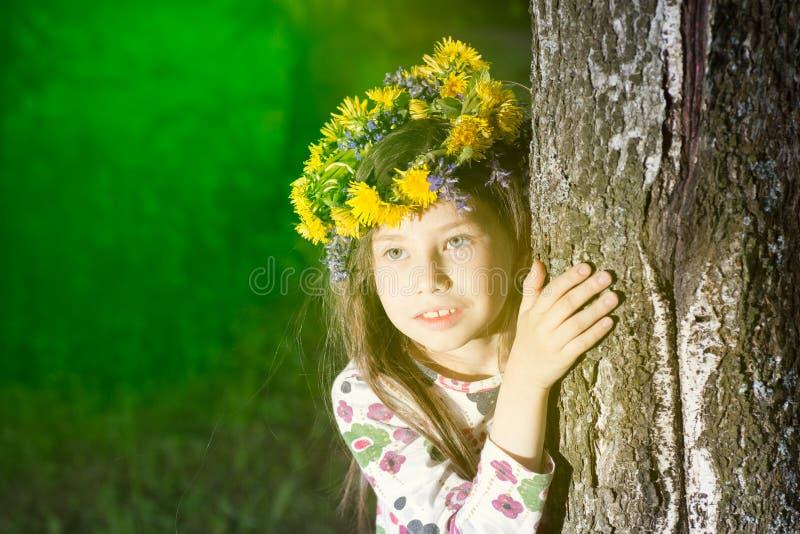 Bello bambino che soffia via il fiore del dente di leone in primavera fotografia stock libera da diritti