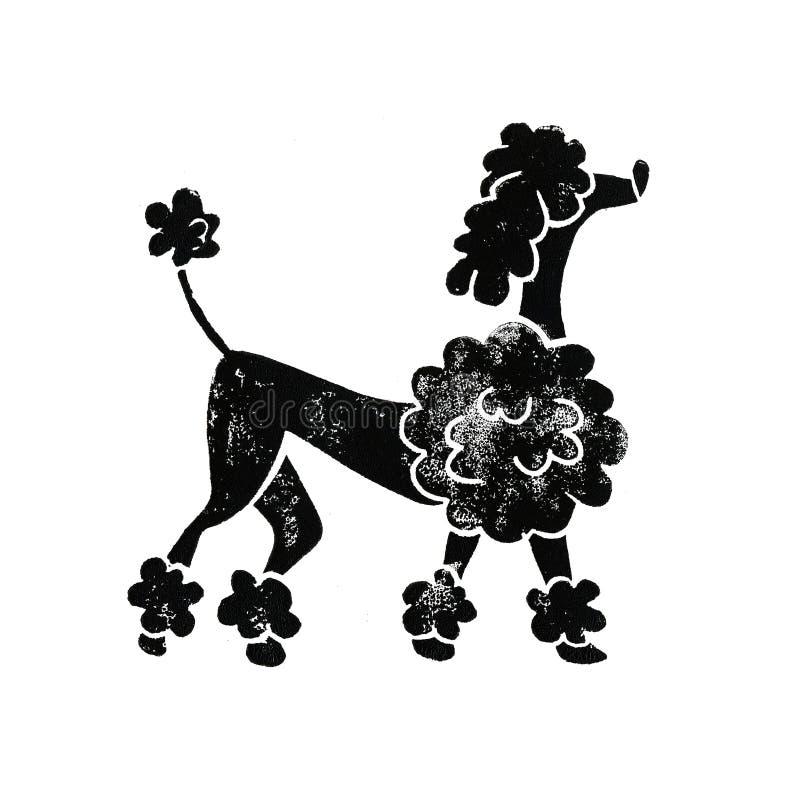 Bello barboncino di Linocut royalty illustrazione gratis