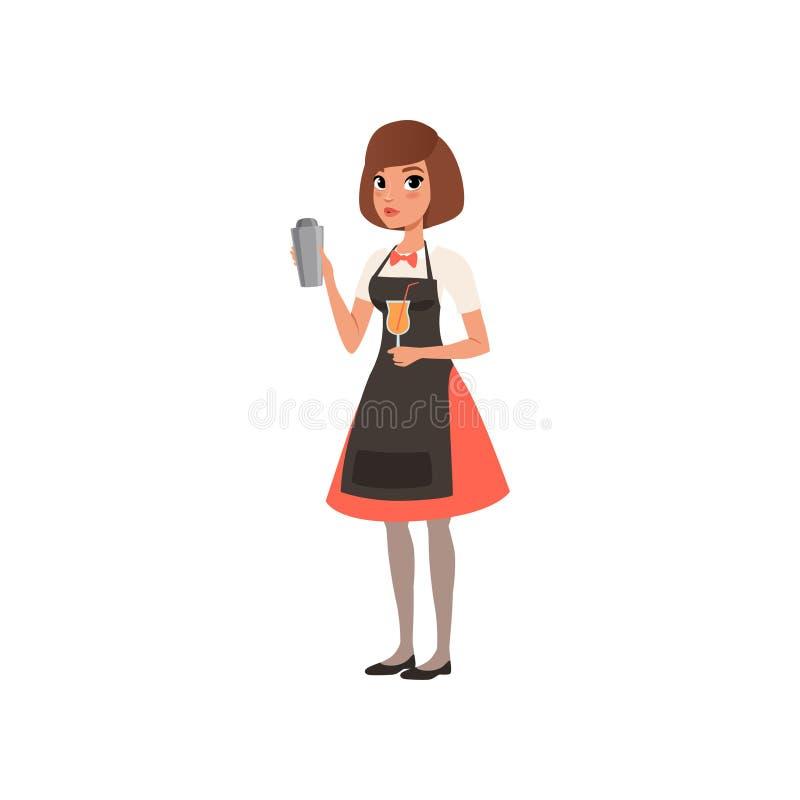 Bello barista della giovane donna che tiene un vassoio con la bevanda dell'alcool, carattere del barista che mescola una bevanda  illustrazione vettoriale