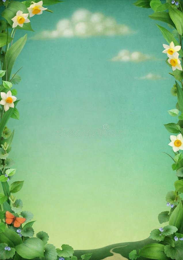Bello blocco per grafici dai fiori e dai fogli. illustrazione di stock