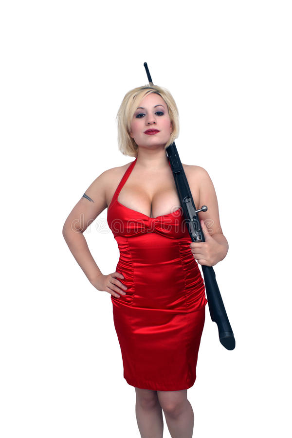 Bello Blonde con il fucile militare (5) fotografia stock