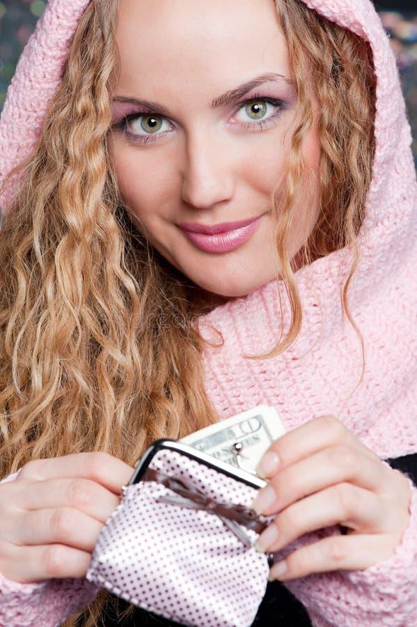 Bello blonde con la borsa immagine stock