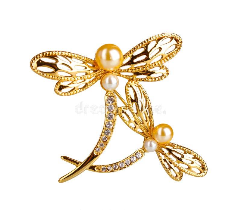 Bello brooch dorato con le pietre preziose fotografie stock