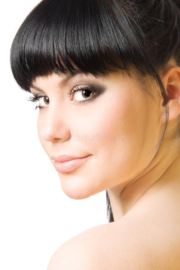 Bello brunette isolato su bianco immagini stock libere da diritti