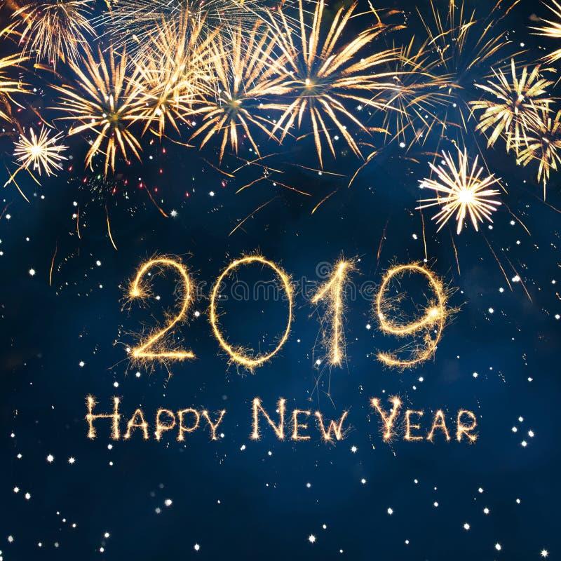 Bello buon anno quadrato 2019 della cartolina d'auguri royalty illustrazione gratis