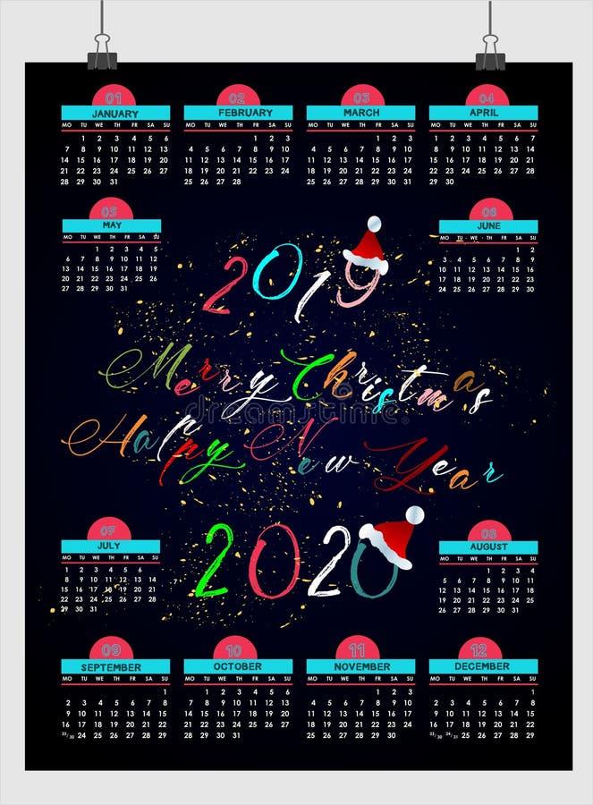 Bello calendario 2019 del nuovo anno progettazione con spazio per le vostre note e data illustrazione vettoriale