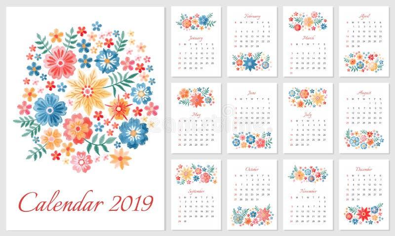 Bello calendario per 2019 anni Inizio di settimana la domenica Mesi con l'ornamento floreale dei fiori ricamati variopinti illustrazione vettoriale