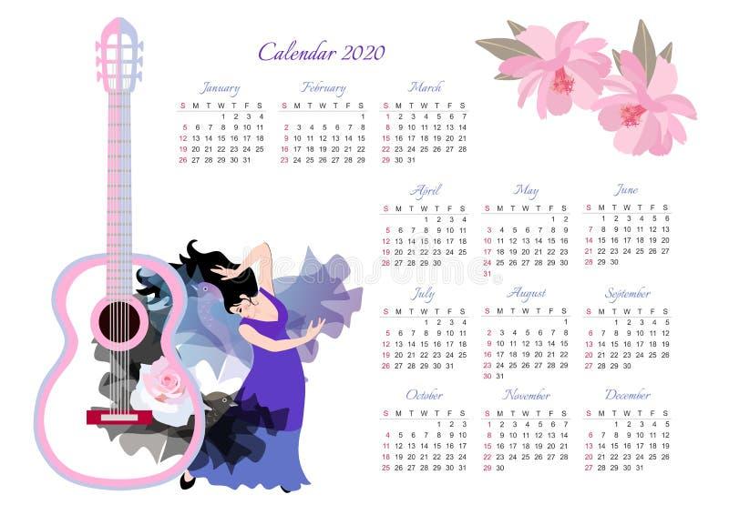 Bello calendario per 2020 anni Progettazione originale con il flamenco ballante della ragazza royalty illustrazione gratis