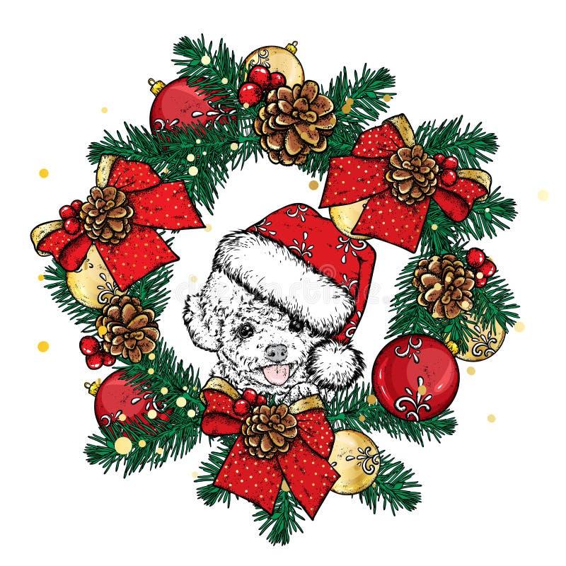 Bello cane in corona di Natale Cucciolo sveglio ` S del nuovo anno e Natale Vector l'illustrazione per una cartolina o un manifes illustrazione vettoriale