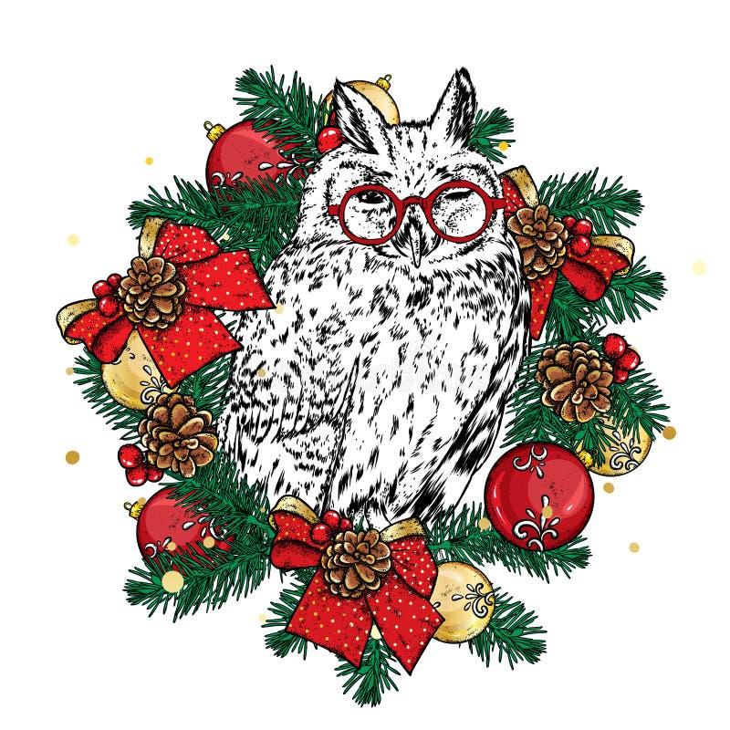 Bello cane in corona di Natale Cucciolo sveglio ` S del nuovo anno e Natale Vector l'illustrazione per una cartolina o un manifes royalty illustrazione gratis