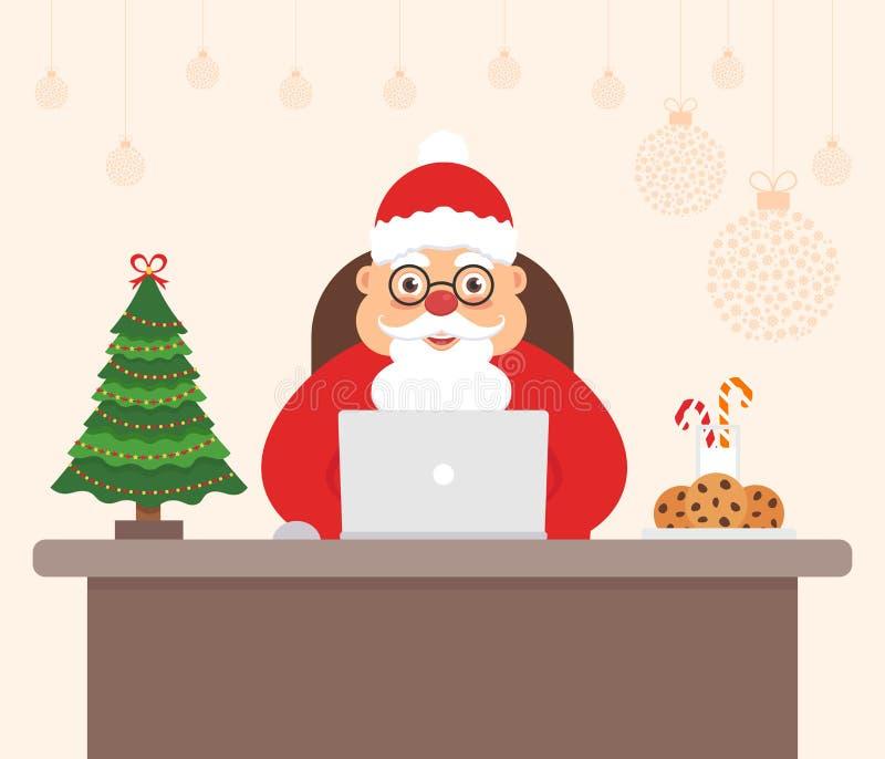 Bello carattere sveglio Santa Claus, albero di festa Buon Natale e buon anno decorati dell'ufficio del posto di lavoro royalty illustrazione gratis