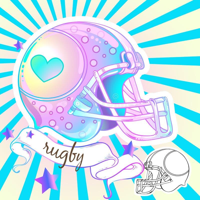 Bello casco alto-dettagliato di rugby di stile Girly Illustrazione di vettore nei colori pastelli rosa Ragazze di sport illustrazione di stock