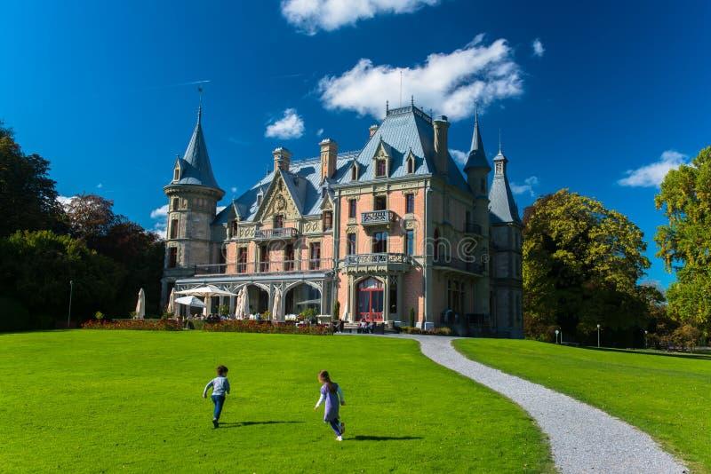 Bello castello di Schadau nella città di Thun fotografia stock libera da diritti