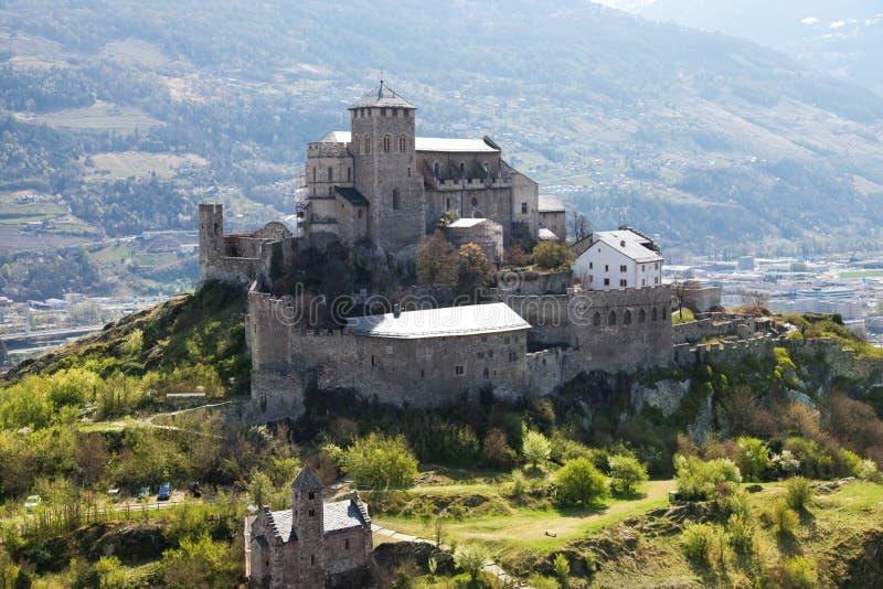 Bello castello in Sion, Svizzera fotografia stock