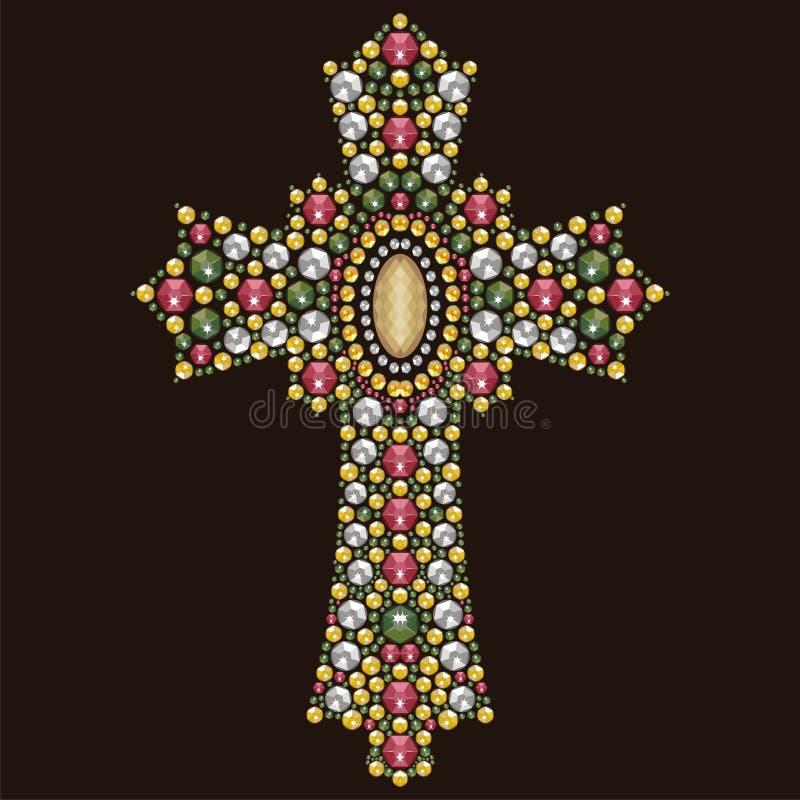 Bello Christian Cross decorato d'annata dalle pietre brillanti, applique del cristallo di rocca royalty illustrazione gratis