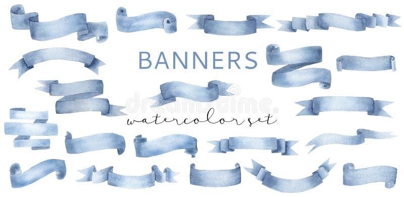 Bello ciano insieme blu dei nastri dell'insegna dell'acquerello royalty illustrazione gratis