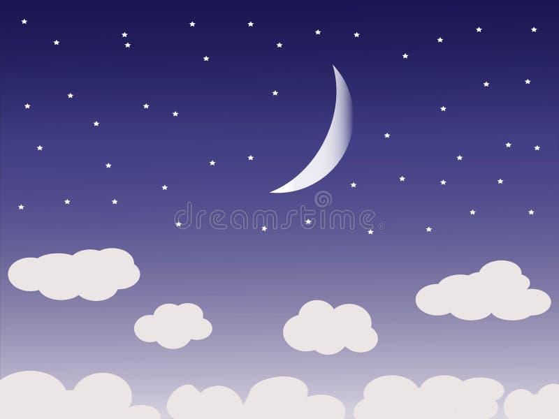 Bello cielo notturno con la luna e le nuvole illustrazione di stock