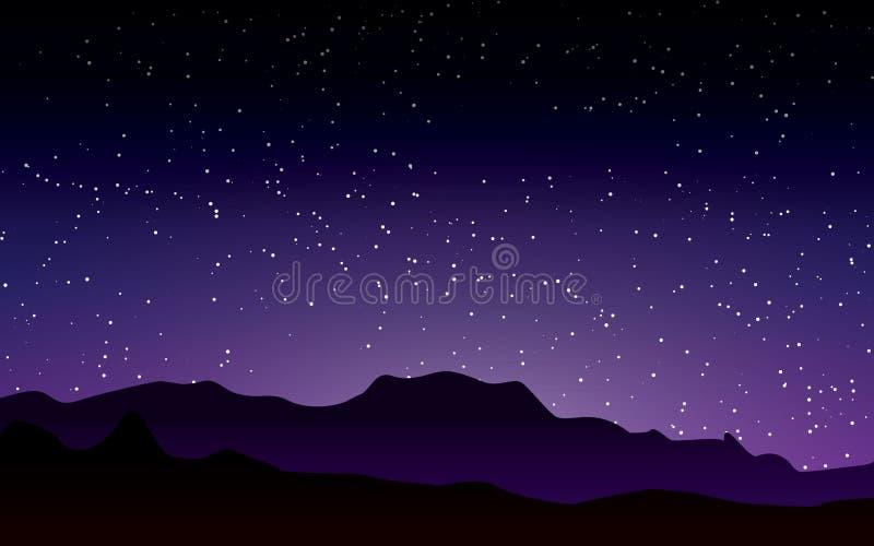Bello cielo porpora con l'illustrazione stary di vettore del paesaggio di notte royalty illustrazione gratis