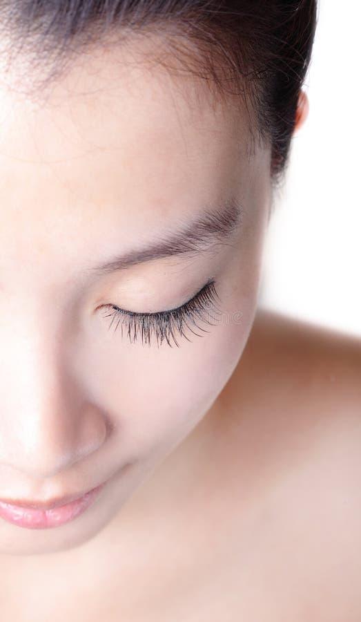 Bello ciglio asiatico della donna fotografia stock libera da diritti